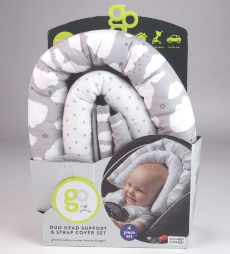 GO by Goldbug Clouds Duo Car Seat Head Support and Strap Cover Set