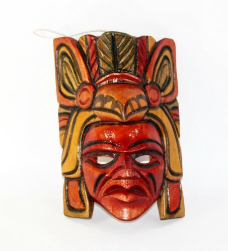 """Wooden Hand Carved Mask from Guatemala, 9"""" T x 6"""" W x 4"""" D"""