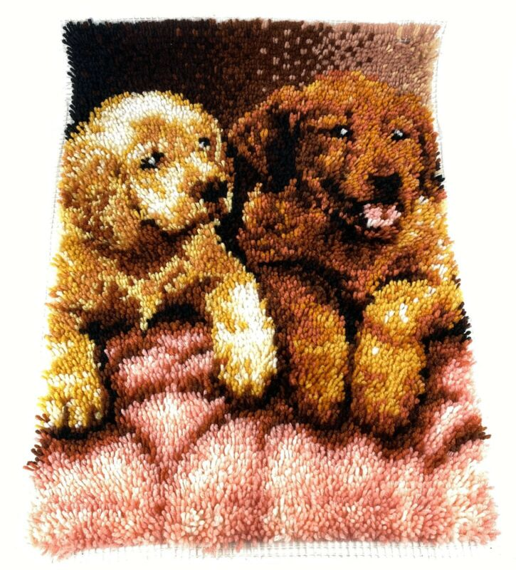 "Vintage Finished Latch Hook WonderArt Labs Dogs Puppies  Wall Art 20"" x 27"""