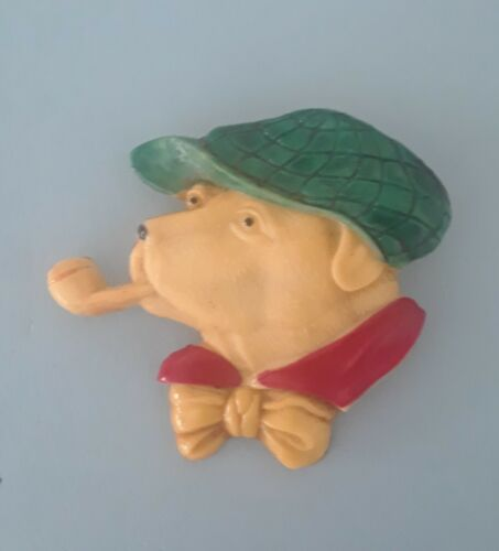 Dog with Pipe Pin Hard Plastic Vintage 1950s