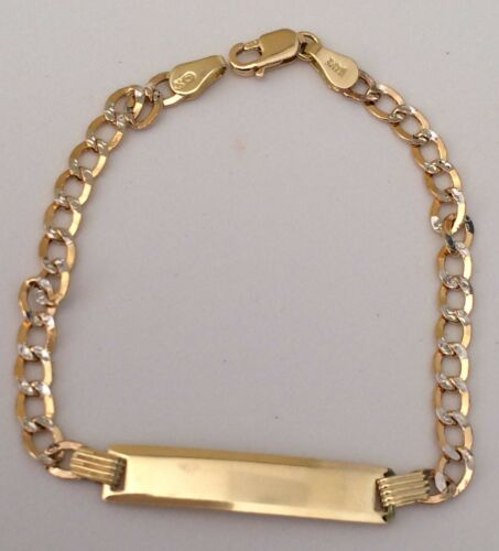 Real 14K Yellow White Gold 6 Inch Cuban Chain Child Kid Baby Two Tone Bracelet