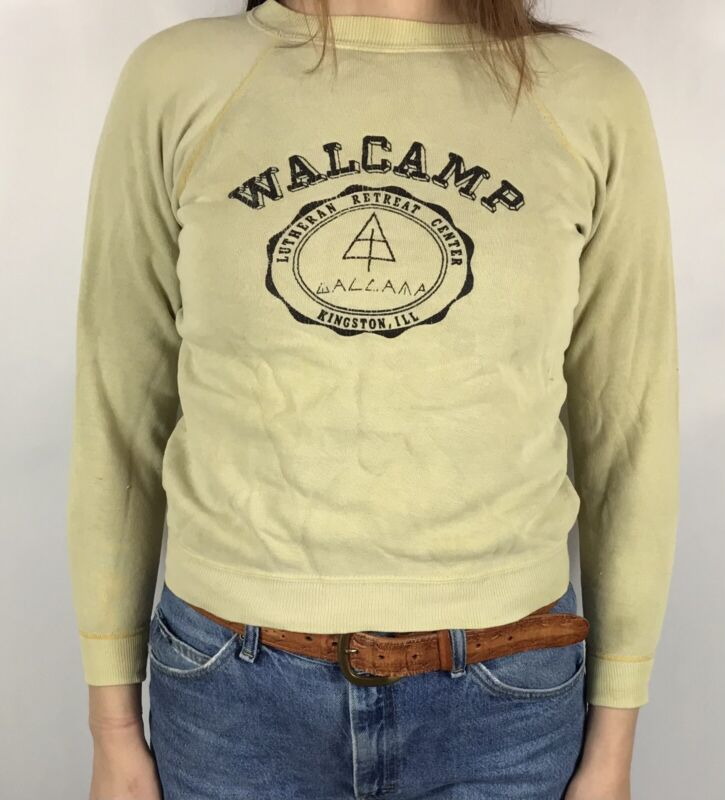 Vintage 60s Camp Sweatshirt XS Crewneck Walcamp Lutheran Retreat Kingston IL
