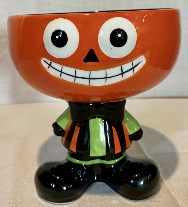 """Ceramic pumpkin Candy Dish 6"""" tall 17 1/2"""" diameter Perfect Size For Candy Corn"""