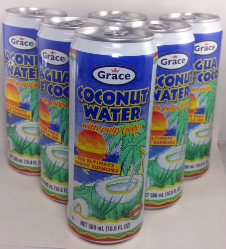 Grace Coconut Water with pulp - 16.9 fl oz each ( 6-cans)