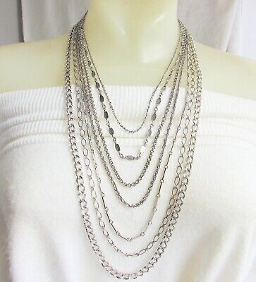 Vintage Napier 7 Chain Waterfall Necklace SilverPlate Rolo Rope Bars Link Gucci