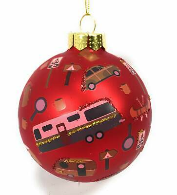 Red Camping Scene Glass Ball Christmas Ornament](Camping Ornaments)