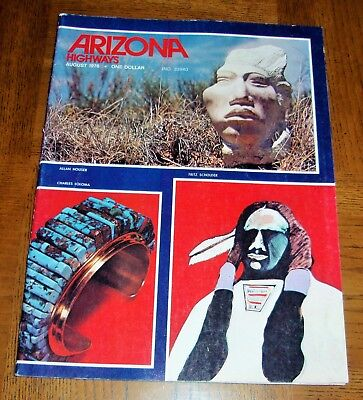 ARIZONA HIGHWAYS 1976 AUGUST-NATIVE AMERICAN POTTERY-PAINTINGS-JEWELRY-SCULPTORS