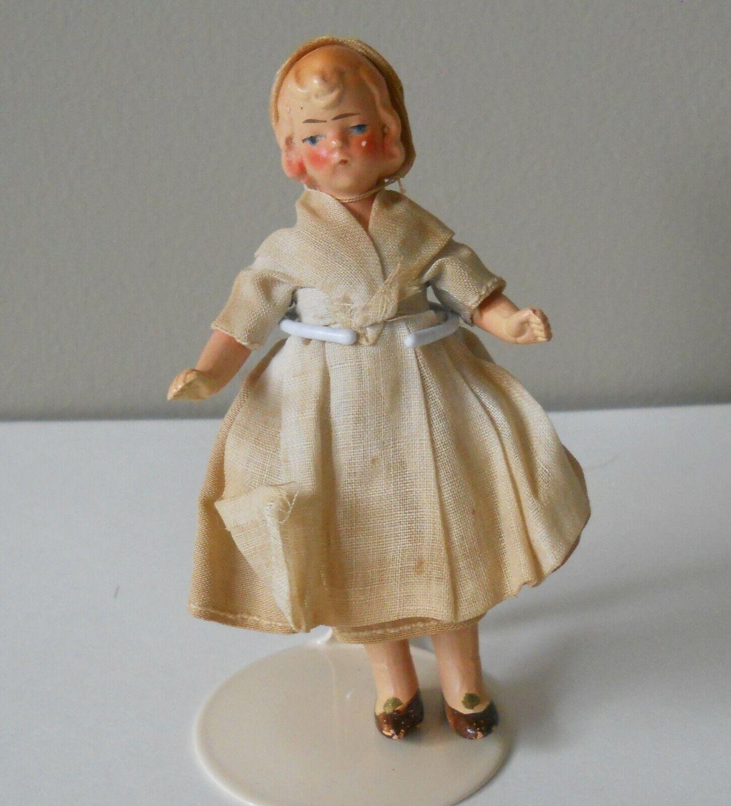 "Dollhouse Antique All Bisque German Doll Original Dress & Hat Molded Hair 4"""