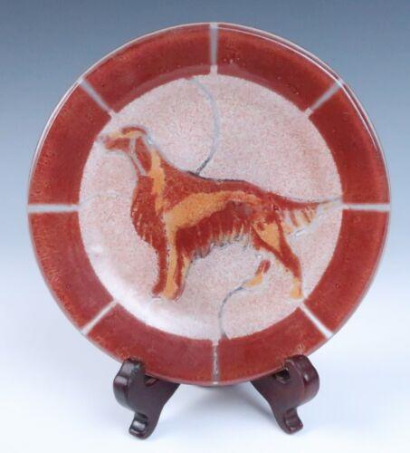 🟢 Vintage 1980 Silva Fused Glass IRISH SETTER Plate Studio Signed Art Dog Red
