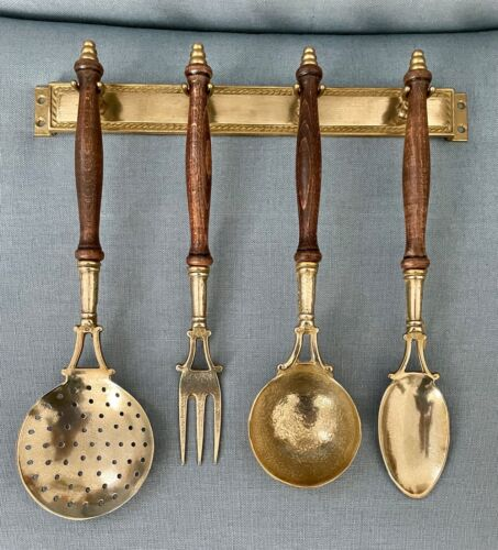 Vintage but NEW!  Brass & Wood Hanging Utensil Set  PURCHASED IN FRANCE  Lovely!