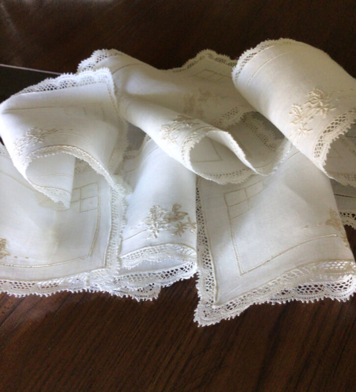 10 Vintage White MADEIRA Embroidery Lace Linen Napkins~Lovely!!