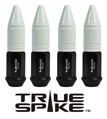 20 TRUE SPIKE 86MM 14X2.0 STEEL LUG NUTS WHITE EXTENDED APOLLO SPIKES B