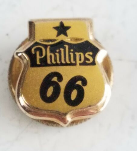 Phillips 66 10K Gold Employee Service Award Screwback Pin Sign Original old
