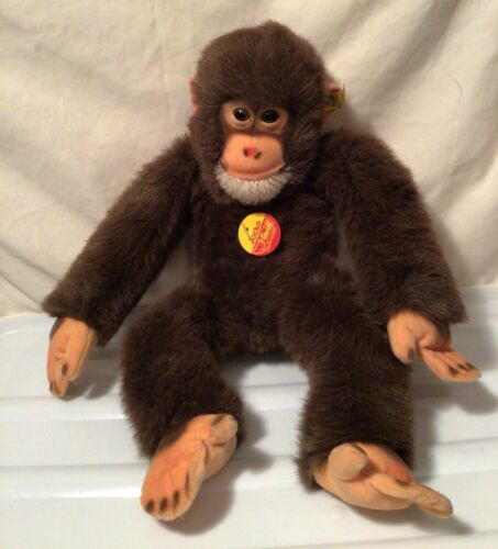 """Vtg large Steiff Jocko monkey, about 16"""" long Glass eyes squeaker and tags"""