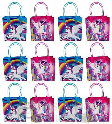Rainbow Unicorn Party Favor Supplies Goody Loot Gift Bags for Girls [12ct]