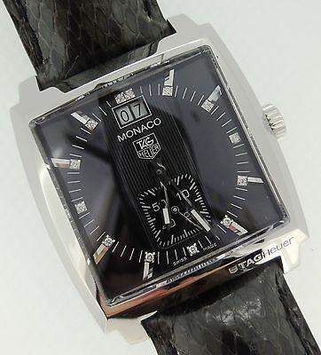 Tag Heuer Monaco Unisex Quartz Black Diamond Dial Python Strap Steel WAW1310