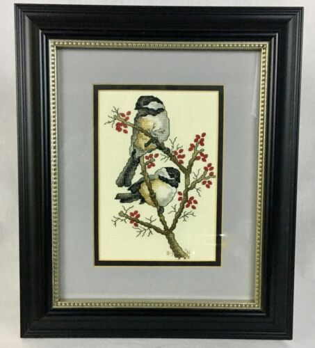 Framed Matted Finished Counted Cross Stitch Embroidery Winter Chickadees