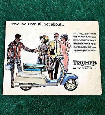 ORIG 1966 TRIUMPH T10 SCOOTER DEALER BROADSHEET BROCHURE POSTER MOTORCYCLE TINA