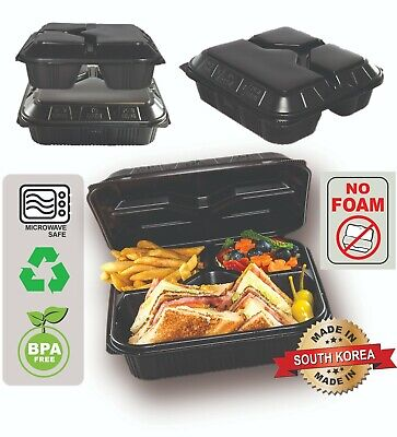 50pc Plastic Food Storage Hinged Take Out Food Containers Bento Box 3 Comp.