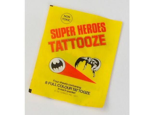 Vintage Super Heroes Tattooze Batman Superman FC Comics Letraset 1977