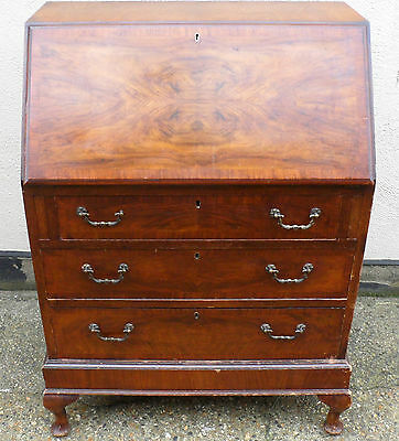 ANTIQUE MAHOGANY SOLID WOOD WRITING DESK BUREAU