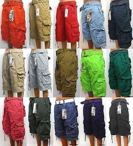 Mens-FOCUS-white-orange-khaki-red-cargo-shorts-size-32-34-36-38-40-42-x-13-belt