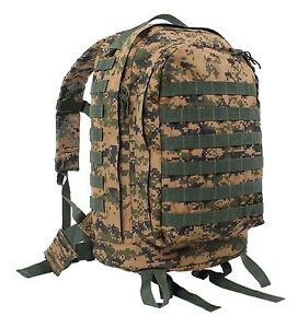 MOLLE-II-3-Day-Assault-Pack-Woodland-Digital-Camo-Sporty-Backpack-Hiking-Bag