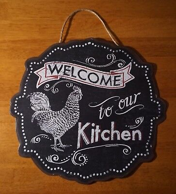WELCOME TO OUR KITCHEN SIGN Black & Red Rooster Chicken Country Farm Home Decor