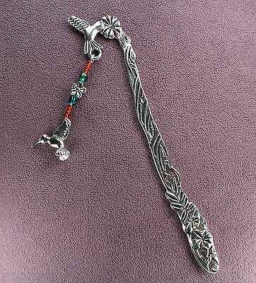 HUMMINGBIRD TOTEM BOOKMARK 3D Bird Watcher Flower Crystal Ruby Throated Silver