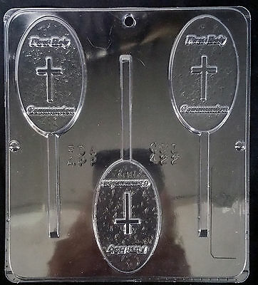 - Religious Communion Oval w/Cross Pop Chocolate Plastic Candy Mold CML-422