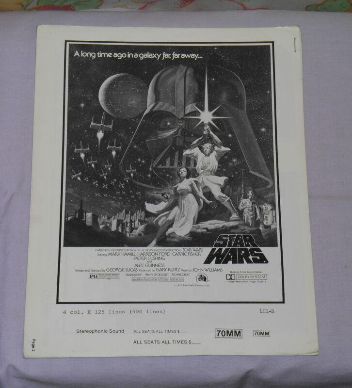 original STAR WARS PRESSBOOK advertising ad slicks