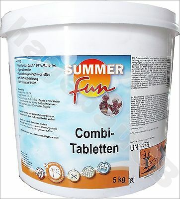 5kg Summer Fun Combi-Tabletten Desinfektion Aktivchlor Swimmingpool Pool Algen