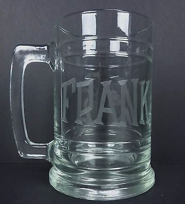 Personalized Beer Mug FRANK etched on Glass Beer Mug Drinking Cup  - Personalized Glass Cups