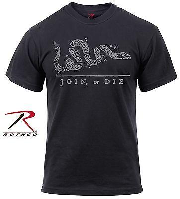 Mens Black Join Or Die Snake T Shirt   Rothco Cotton Patriotic Symbol Tee Shirt
