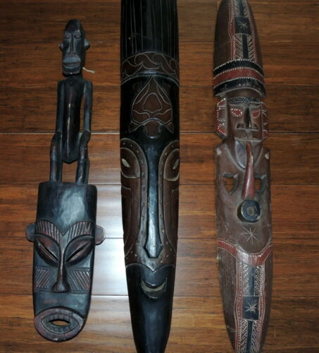 3 African Tribal Art Hand Carved Wood Masks Wall Hangings  LOCAL PICK UP ONLY!!