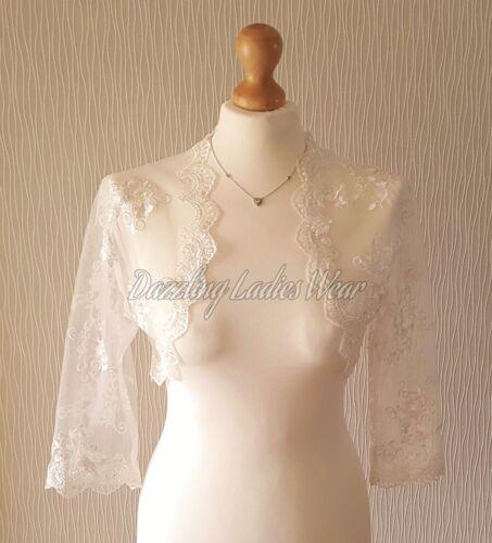 Ivory Lace Bolero 3/4 sleeves Jacket/Wedding/Stole/Wrap/Shrug Bridal New