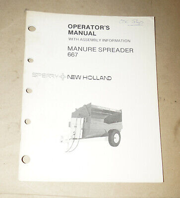 Sperry New Holland Manure Spreader 667 Operators Manual Pn 43066710