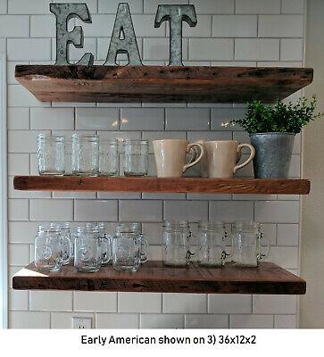 Floating Shelf - Reclaimed Barn Wood - Premium Floating Shelves Handmade USA   Kitchen Shelving Unit