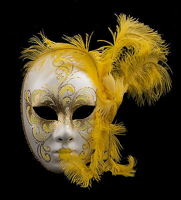 Mask from Venice Face Volto in Feathers Ostrich Golden Yellow-Mask Venetian 1409