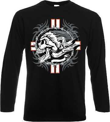 Cross Long Sleeve Shirt Schwarz (Longsleeve Langarmshirt schwarz Gothik-,Biker-&Tattoomotiv Modell Cross Skull)