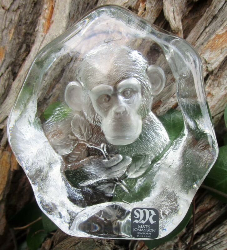 Mats Jonasson Crystal Monkey Chimp Paperweight Sculpture Label, Signed & number