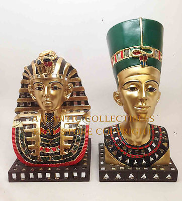 Egyptian King Tut and Queen Nefertiti Bust Pharaoh Home Decor Figurine Statue