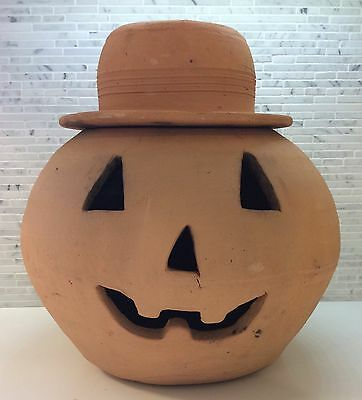 Hewell Pottery Pumpkin Vintage Jack-O-Lantern Georgia Red Clay Cravens Punk Era