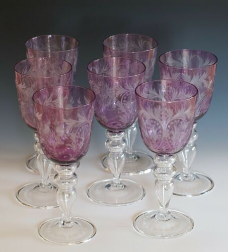 CARDER STEUBEN set of 7 WATER GOBLETS - Amethyst / colorless 8 1/2""