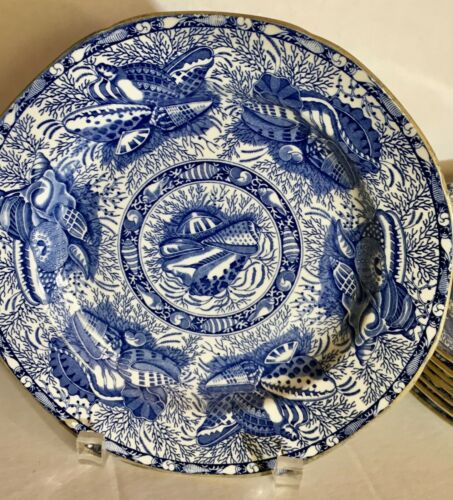 MOTTAHEDEH TORQUAY BLUE SHELLS DISCONTINUED  8 -  SALAD/DESERT PLATES