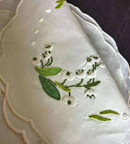 Vintage Madeira Linen Embroidered  Rounds Doilies Lily of the Valley  VV945