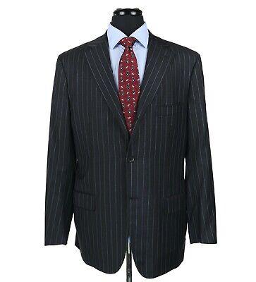 Isaia Base s 140's Wool Blazer Sport Coat Jacket Gray w/Blue Stripes Size 44L