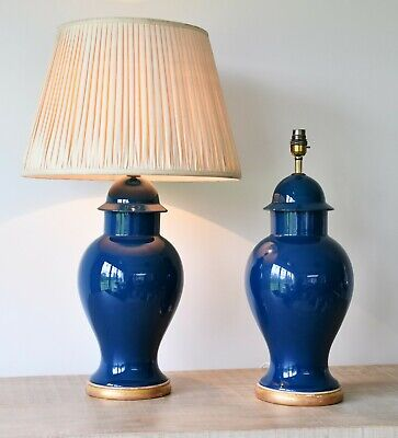 A Pair of Vintage Chinese Ginger Jar Blue Glaze Brass Bed Side Table Hall Lamps