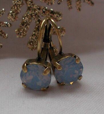 8mm CupChain LT BLUE/ANTIQUE BRASS Leverback Drop EARRINGS/Swarovski Crystals