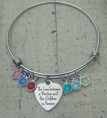 Mother's birthstone Bracelet Mom Gift Personalized Birthstone charm bangle ](Mom Charm Bracelet)